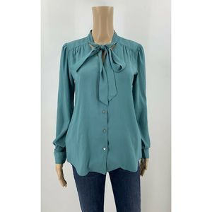Ann Taylor Blouse Pussybow Teal Green Size XS Tall